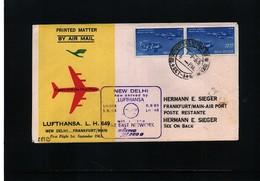 India 1963 Lufthansa First Flight New Delhi - Frankfurt - Indien