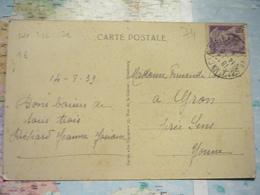 40 C Violet Mercure Seul Sur CPA 14/08/1939  / CPA Chamonix- Montenvers Et La Mer De Glace - Marcophilie (Lettres)