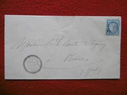 LETTRE CACHET AIMARGUES GC 4855 SUR TIMBRE CERES VIA NIMES 1872 - Marcophilie (Lettres)