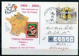 """Frankreich 2003 Sonderkarte Tour De France M. Mi.Nr.3725 Und SST""""Tour DE France,58 Nevers """" 1 Karte - Radsport"""