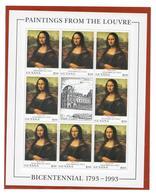 GUYANA 1993 - BICENTENARIO DEL MUSEO DEL LOUVRE - MONNA LISA - MINIFOGLIO  8 VALORI + APPENDICE MNH** - Guiana (1966-...)