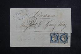 FRANCE - Lettre De Orthez En 1852 Pour Bordeaux , Affranchissement Paire De Cérès De La 1 ère émission - L 23091 - Marcophilie (Lettres)