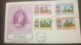 O) 1978 TUVALU, CORONATION OF ELIZABETH II -HERITAGE-ARCHITECTURE-CATHEDRAL- CANTERBURY-WELL-HEREFORD, FDC XF - Tuvalu