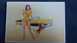 CPM PIN UP HUILE A LAURENT HABIT SEXY FELIN VOITURE CAR AMERICAINE AUTO  NEW YORK CARDS MRC SOLLY TRADIMEX - Pin-Ups