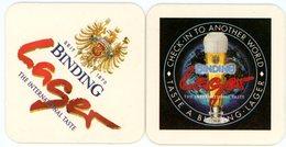 Deutschland. Binding. Lager. The International Taste. Seit 1870. Check Into Another World. Taste A Binding. Germany. - Bierdeckel