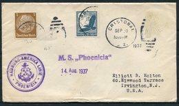 1937 Germany Seepost Hamburg-Amerika Linie Ship Cover MS PHOENICIA, Cristobal CZ - Allemagne