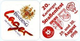 Deutschland. Binding. Lager. The International Taste. Seit 1870. 20. Kartunger Strassenfest. August 1998. Germany. - Bierdeckel
