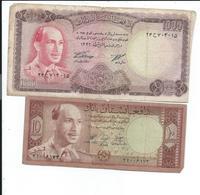 Afganistan Lot De 2 Billets Anciens,usés - Afghanistan