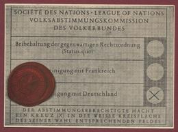 Erinnerungsdokument Saar Abstmmungskarte 13 Jan.1935 Volksabstimmung Des Saargebietes, Saarland, Sarre League Of Nations - Allemagne