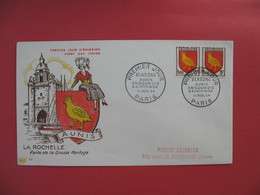 FDC 1954   La Rochelle  Porte De La Grosse Horloge   Blasons Aunis Angoumois Saintonge  Cachet Paris à Voir - 1950-1959