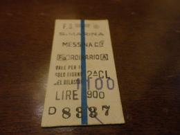 BIGLIETTO TRENO S.MARINA - MESSINA CENTRALE-LIRE 900 SOPRASTAMPATO 1100 -1977 - Chemins De Fer
