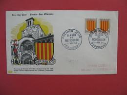 FDC 1955   Roussillon  - Blason Du Roussillon    Cachet Perpignan     à Voir - FDC