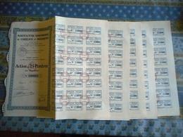 LOT DE 5 TITRES MANUFACTURE SAIGONNAISE DE CARREAUX ET MOSAIQUES ACTION DE 25 PIASTRES AU PORTEUR SAIGON 1928 - Asia