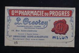 FRANCE - Vieux Papiers - Carnet De Notes Avec Publicité De La Pharmacie  Du Progrès De Melun - L 23111 - Vieux Papiers
