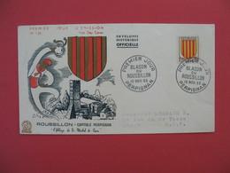 FDC 1955   Roussillon Capitale De Perpignan   - Blason Du Roussillon    Cachet   Perpignan   à Voir - FDC