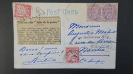 CPA Fantaisie 1929 Affranchi A 20 Ct Type Blanc Taxée 2 Fois A 30 Ct Type Gerbe - Storia Postale