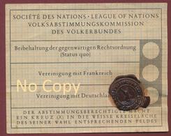 Abstmmungskarte Volksabstimmung Des Saargebiet 13 Jan.1935, Stempel Saarbrücken Kommission, Sarre - Plébiscite - Allemagne