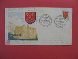FDC 1955   Comtat Venaissin  Palais Des Papes   - Blason Du Comtat Venaissin    Cachet Carpentras  à Voir - FDC