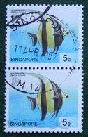 5 C Tropical Marine Fish Moorish Idol 2001 Mi 1076 Used Gebruikt Oblitere SINGAPORE SINGAPUR - Singapur (1959-...)