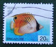20 C Tropical Marine THREADFIN BUTTERFLYFISH Fish 2001 Mi 1077 Used Gebruikt Oblitere SINGAPORE SINGAPUR - Singapur (1959-...)