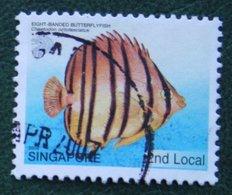 2nd Local Tropical Marine EIGHT-BANDED BUTTERFLYFISH Fish 2005 Mi 1401 Used Gebruikt Oblitere SINGAPORE SINGAPUR - Singapur (1959-...)