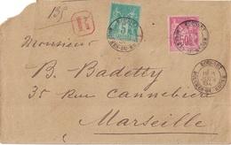 BOUCHES DU RHONE - ROUSSET - SAGE 50c ET 5c SUR LETTRE RECOMMANDEE DU 3 JUIN 1894 POUR MARSEILLE. - Postmark Collection (Covers)