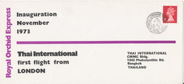 Great Britain Cover 3-11-1973 Inauguration Flight Thai International Royal Orchid Express To London Sent To Thbailand - 1952-.... (Elizabeth II)