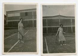 Jeune Femme Woman Tennis Pose Portrait Grey 30s Duo Lot 2 Photo Elegance Pin-up Girlfriend - Personnes Anonymes