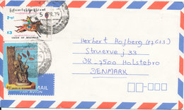 Myanmar Air Mail Cover Sent To Denmark 5-4-1989 (one Of The Stamps Is Damaged) - Myanmar (Burma 1948-...)