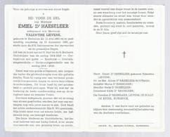 DOODSPRENTJE D'HAESELEER LIEVENS ° KERKSKEN 1891 + 1961 OUDSTRIJDER 1914-1918 MEDAILLES ... - Santini