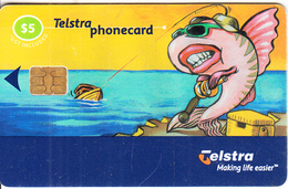 AUSTRALIA(chip) - Fish On Beach, Exp.date 31/03/03, Used - Australia