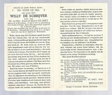 DOODSPRENTJE DE SCHRIJVER DE SMET ° KERKSKEN 1941 + ERPE SMARTELIJK ONGEVAL 1961 PLOEGLEIDER K.A.J. ST MARTINUS HARMONIE - Santini