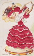 Carte Brodée ANDALUCIA  Flamenco Robe Rouge, Torero - Signée Eloi Gumier - Bon état - - Espagne