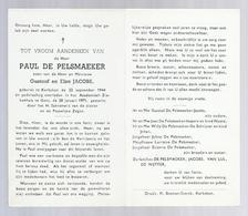 DOODSPRENTJE DE PELSMAEKER JACOBS ° KERKSKEN 1944 + GENT 1971 - Santini