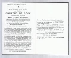 DOODSPRENTJE DE COCK SORGELOOS ° KERKSKEN 1888 + DENDERHOUTEM 1960 OUDSTRIJDER 1914-18 - Santini