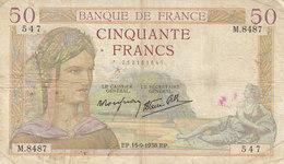Billet 50 F Cérès Du 15-9-1938 FAY 18.14 Alph. M.8487 - 1871-1952 Anciens Francs Circulés Au XXème