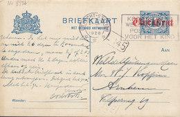 Netherlands Postal Stationery Ganzsache 5c. Auf 2c. Auf 1½c. M. Antwort Response Slogan Flamme UTRECHT STATION 1928 - Postal Stationery