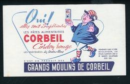 BUVARD:  GRANDS MOULINS DE CORBEIL LES PATES ALIMENTAIRES - FORMAT  Env. 12,5X21 Cm - Food