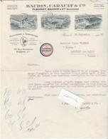 """Facture 1932 / BAUDIN CARAULT Manufacture Mouchoirs / Paris / Vignette  Tricolore """" Achetez Français""""/ Patriotisme - Historical Documents"""