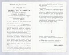 DOODSPRENTJE DE MEERLEER CALLEBAUT ° KERKSKEN 1891 + 1962 OUDSTRIJDER 1914-1918 - Santini