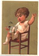 Chromo, Trade Card,  Bébé Sur Une Chaise Haute Punit Une Poupée Bimbo, Seggiolone, Bambola. Testu Massin 14-64/2 - Autres