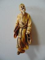 Ancienne Figurine Vieillard Chinois En Ivoire - Asian Art