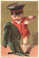 Chromo, Victorian Trade Card.  Domestique Brosse Son Uniforme. Domestico Spazzola L'uniforme. Testu Massin 14-12/3 - Autres