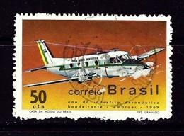 Brazil 1143 Used 1969 Airplane Rough Perfs - Brazil