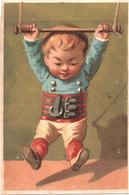 Chromo, Victorian Trade Card. Bébé Devient Athlète. Il Piccolo Atleta. Testu Massin 14-12/1 - Autres