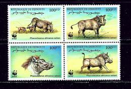 Djibouti 795 MNH 2000 W.W.F. Block Of 4 - Djibouti (1977-...)