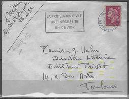 Automation Courrier Avec Tirets Jaunes Fluo - Enveloppe 1969 De Paris 75  Pour Toulouse 31  Poste Indexation Big 11 - Marcophilie (Lettres)