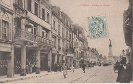 CPA Reims - La Rue De L'Etape (jolie Animation Avec Magasins) - Reims
