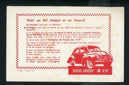 BUVARD:  4 CV RENAULT - FORMAT  Env. 13,5X21 Cm - Automobile