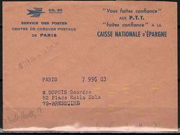Automation Courrier Avec Tirets Jaunes Fluo - Enveloppe De Service CCP Paris Pour Bressuire 79 - Marcophilie (Lettres)